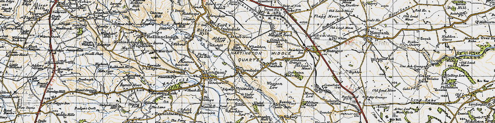 Old map of Wheeldon Trees in 1947