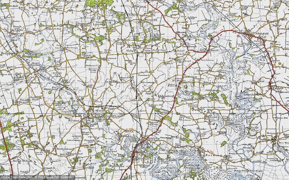 Old Map of Historic Map covering Wroxham Barns Craft Centre in 1945