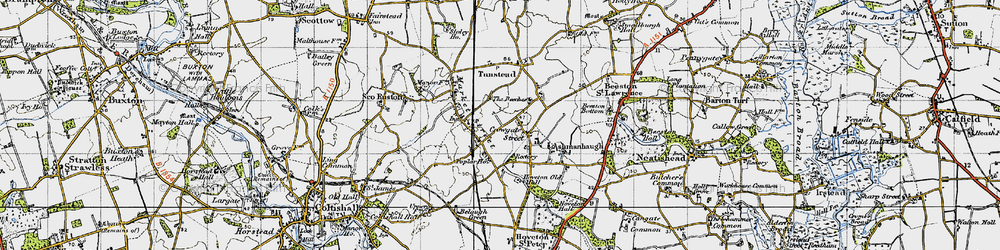 Old map of Wroxham Barns Craft Centre in 1945