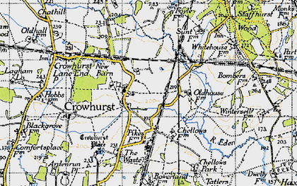 Old map of Crowhurst in 1946