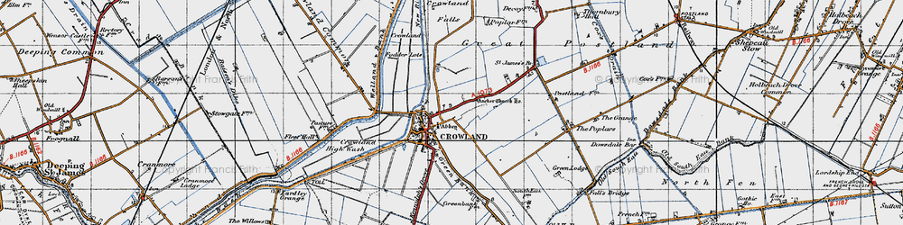 Old map of Crowland in 1946