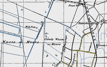 Old map of Crowle Waste in 1947