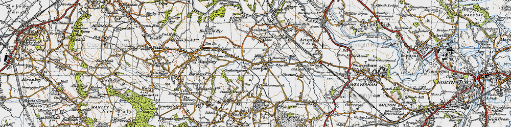 Old map of Crowton in 1947