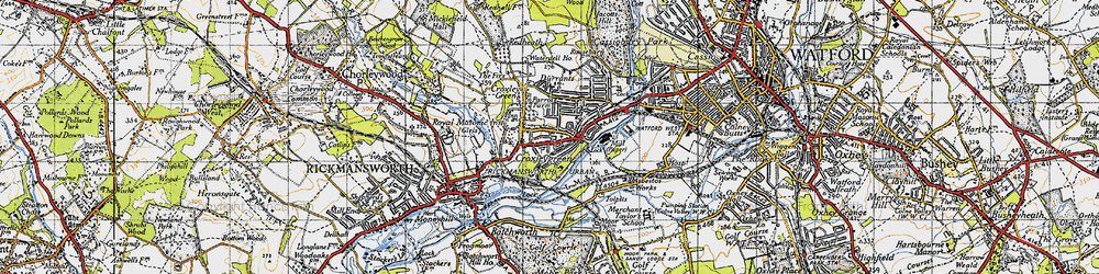 Old map of Croxley Green in 1946