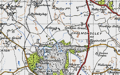 Old map of Cholmondeley Castle in 1947