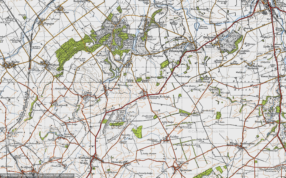 Old Map of Historic Map covering Tipping's Lodge in 1946
