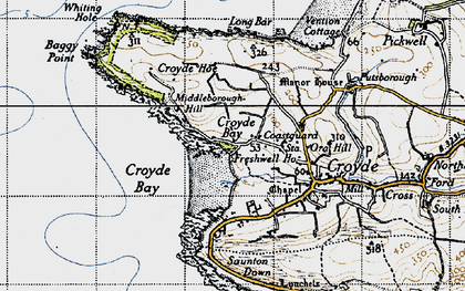 Old map of Baggy Point in 1946
