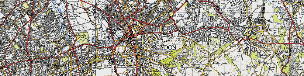 Old map of Croydon in 1946