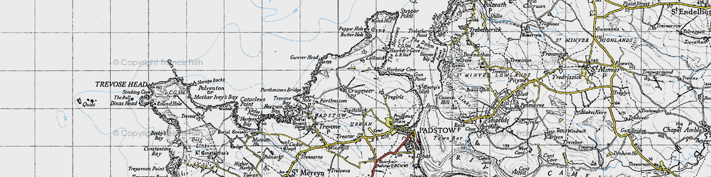 Old map of Lellizzick in 1946