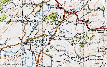 Old map of Crugybar in 1947