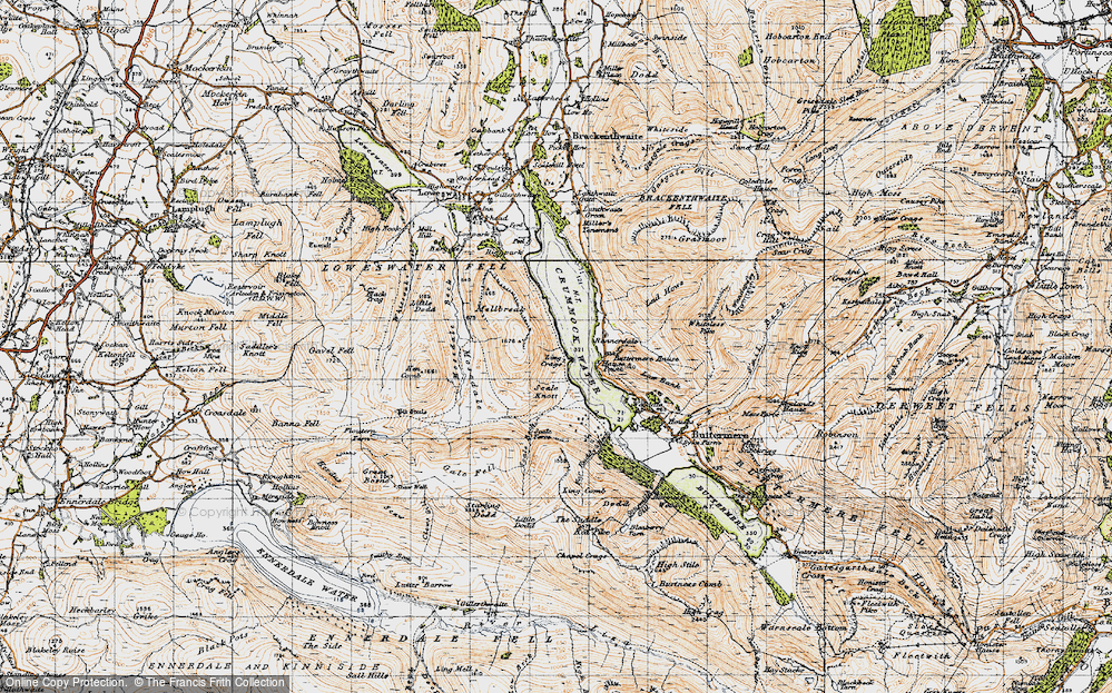 Old Map of Historic Map covering Ling Crags in 1947