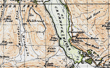 Old map of Ling Crags in 1947