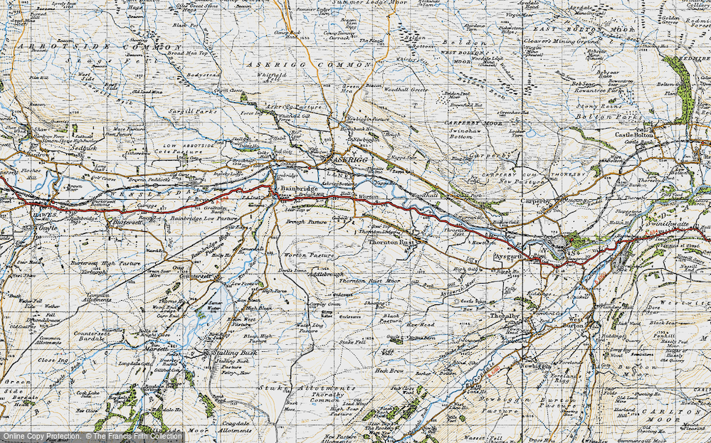 Old Map of Historic Map covering Addlebrough in 1947