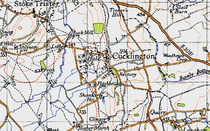 Old map of Cucklington in 1945
