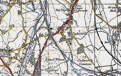 Old map of Cudworth in 1947