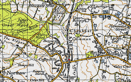 Old map of Cuffley in 1946