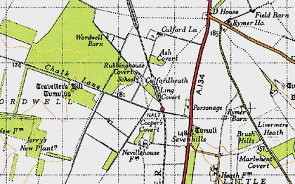 Old map of Wordwell Barn in 1946