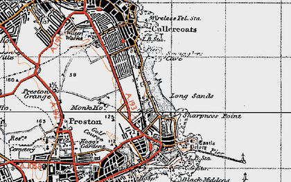 Old map of Cullercoats in 1947