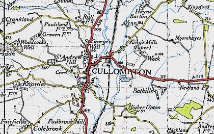 Old map of Cullompton in 1946