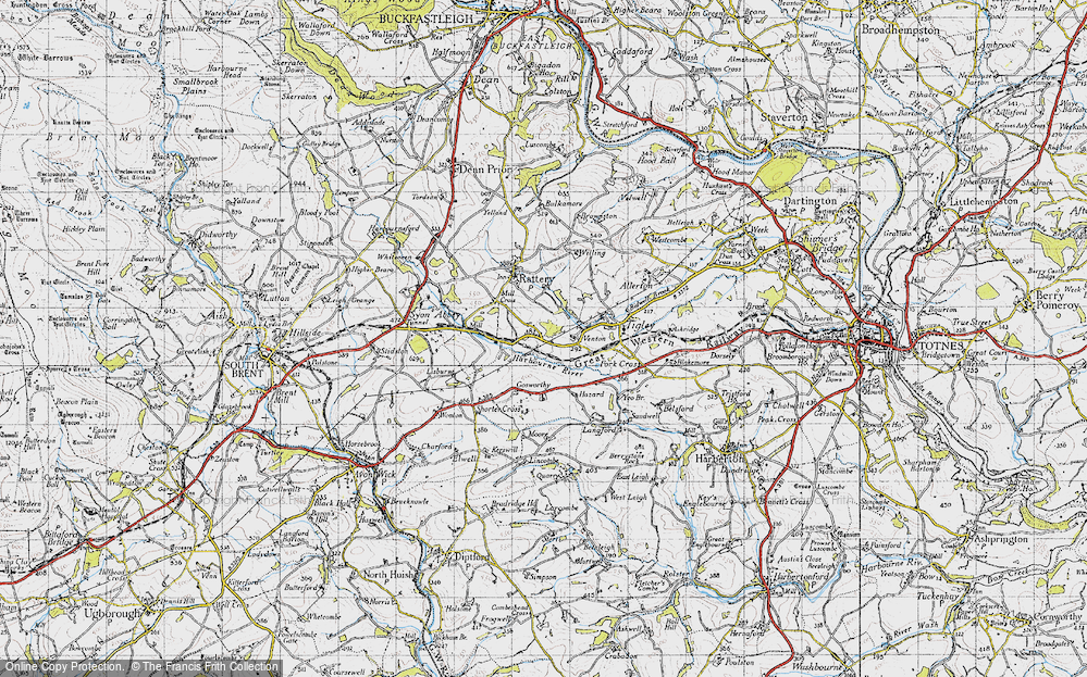Old Map of Historic Map covering Lincombe in 1946
