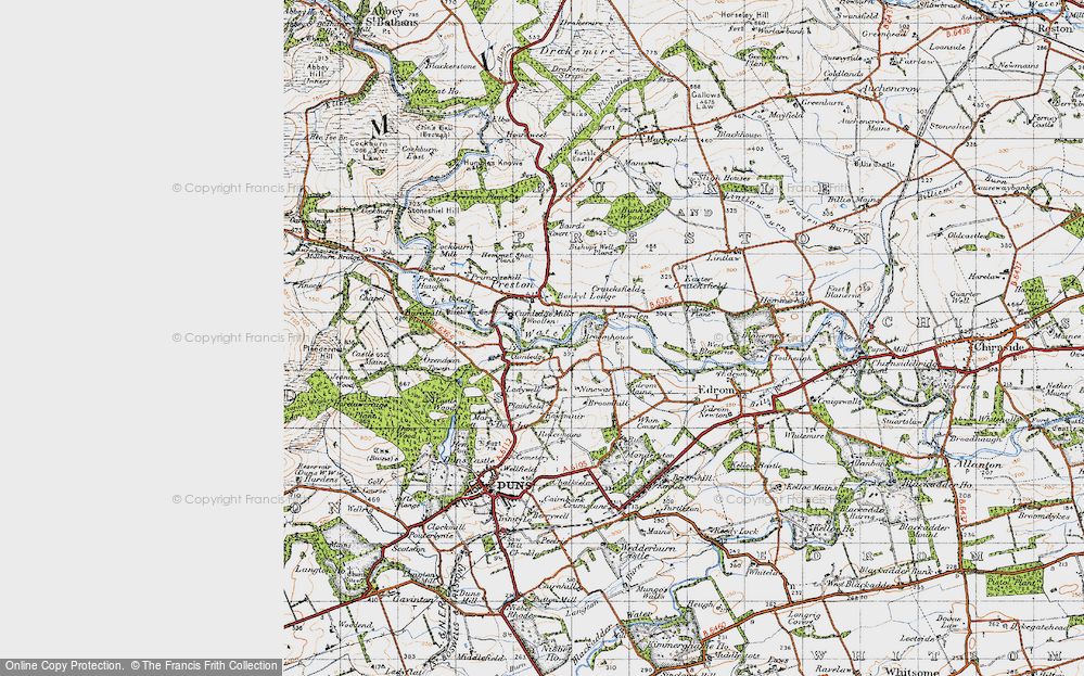Old Map of Historic Map covering Baramill Plantn in 1947