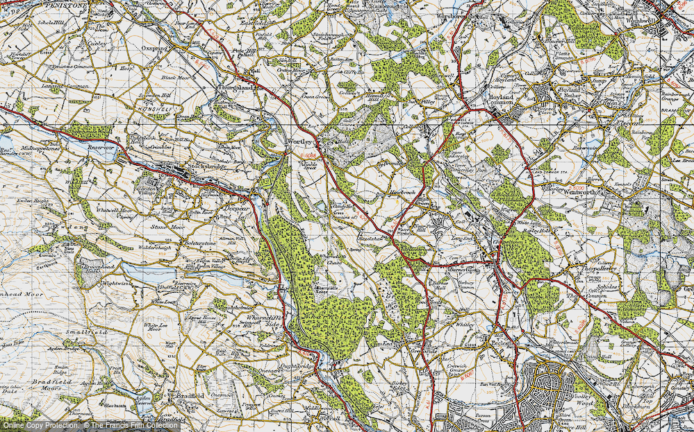 Old Map of Historic Map covering Wharncliffe Chase in 1947