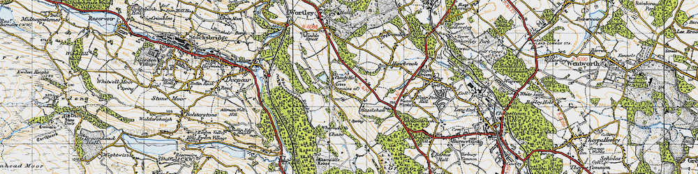 Old map of Wharncliffe Chase in 1947