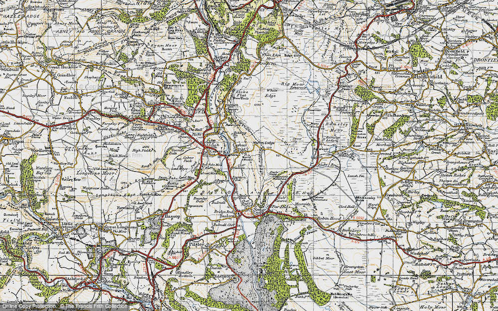 Old Map of Historic Map covering Bar Brook in 1947