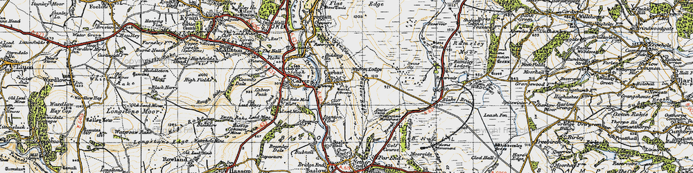 Old map of Curbar in 1947