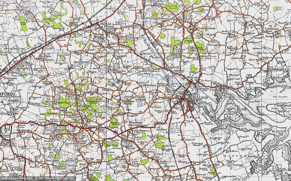 Old Map of Historic Map covering Woodlands in 1945