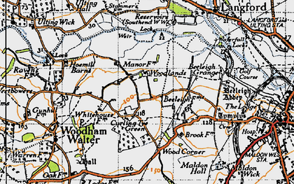 Old map of Wood Corner in 1945