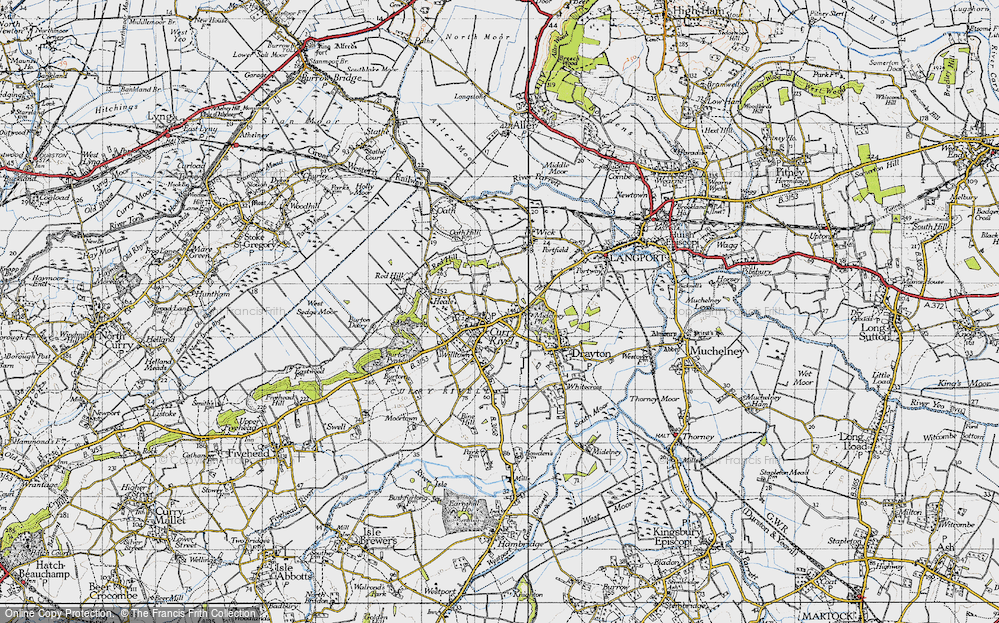 Old Map of Curry Rivel, 1945 in 1945