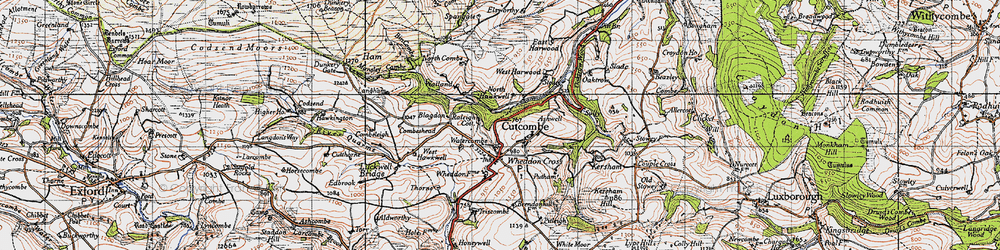 Old map of Cutcombe in 1946