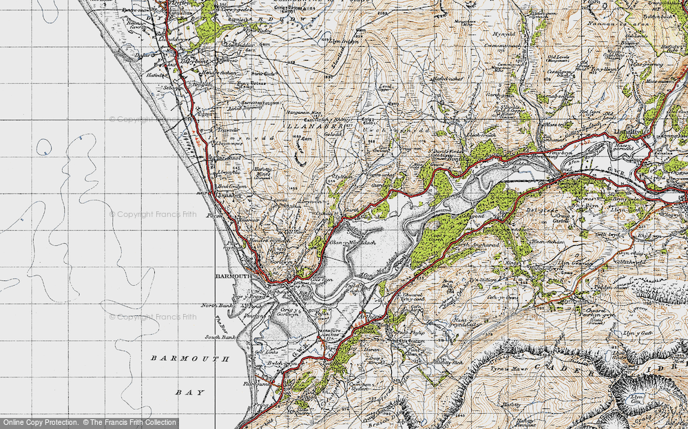 Old Map of Historic Map covering Afon Dwynant in 1947