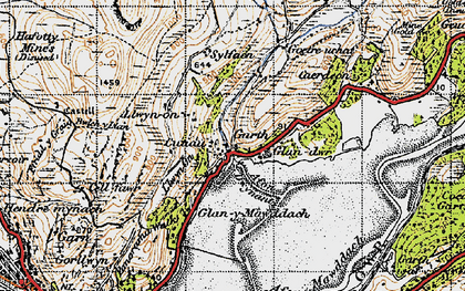 Old map of Afon Dwynant in 1947