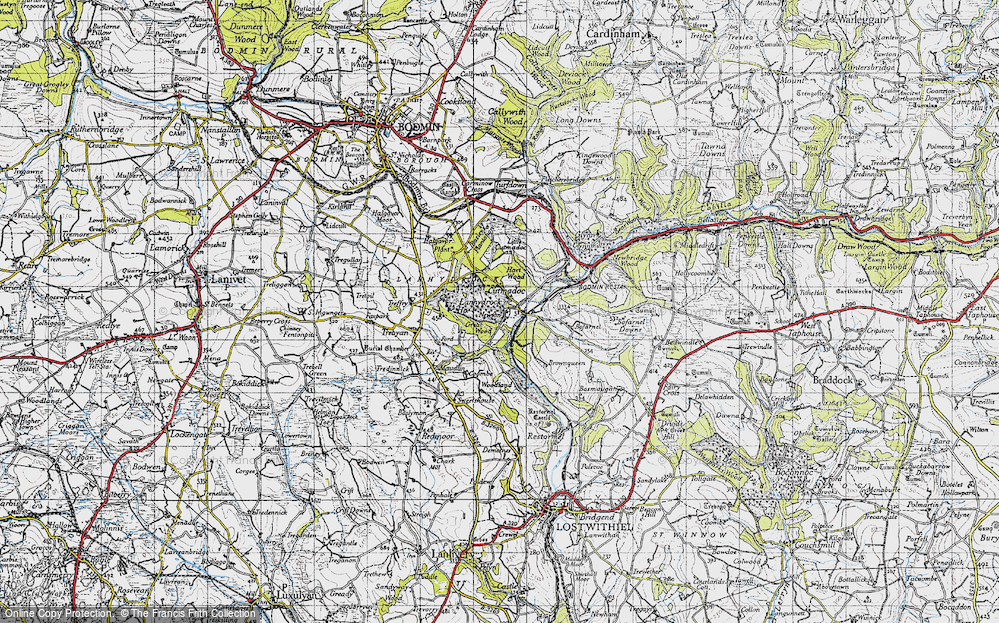 Old Map of Historic Map covering Lanhydrock House in 1946