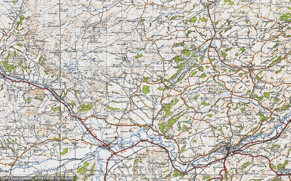 Old Map of Historic Map covering Alltyffynnon in 1947