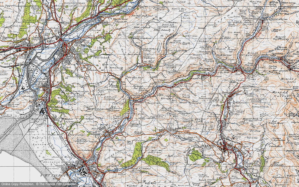 Old Map of Historic Map covering Afan Argoed Forest Park in 1947