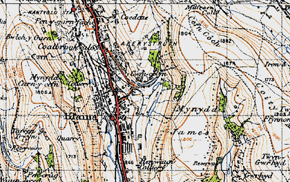 Old map of Mynydd James in 1947