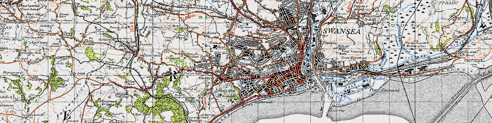 Old map of Cwm Gwyn in 1947