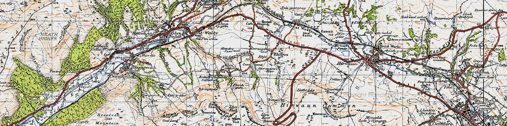 Old map of Y Foel Chwern in 1947