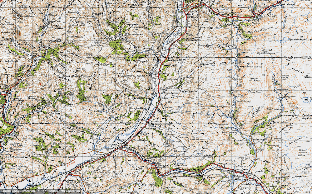 Old Map of Historic Map covering Afon Llinau in 1947