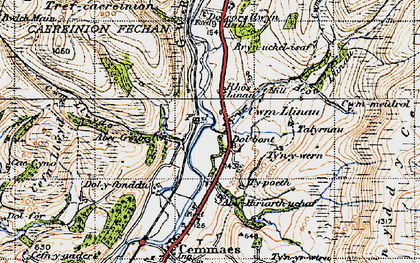 Old map of Afon Llinau in 1947