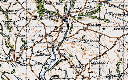 Old map of Afon Taf in 1946