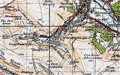 Old map of Cwmaman in 1947