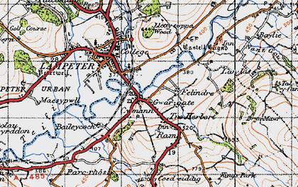 Old map of Cwmann in 1947