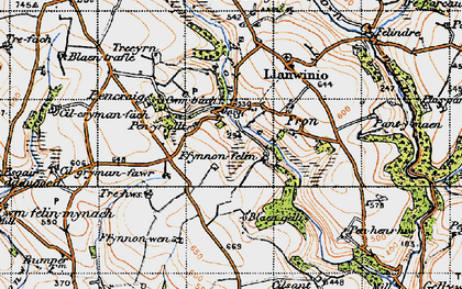 Old map of Afon Sien in 1946