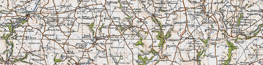Old map of Afon Sien in 1946