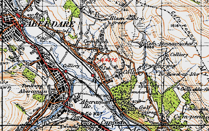 Old map of Cwmbach in 1947