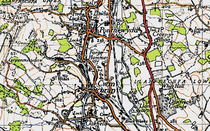 Old map of Cwmbran in 1946